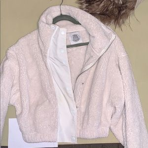 Urban outfitters crop teddy jacket